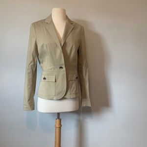 Theory Khaki Blazer with Safari Style Details